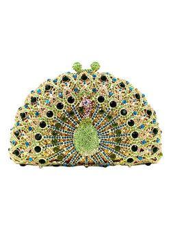 Ladies Crystal Handbag Wedding Evening-Bag Chain Luxury Women Clutch-Purse Peacock