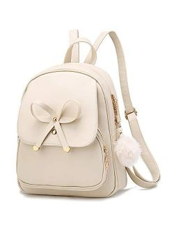 Cute Bowknot Mini Leather Backpack Fashion Small Daypacks Purse for Girls and Women