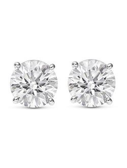 Natural Round Brilliant Solitaire Diamond Stud Earrings for Women 4 Prong Push Back (I-J Color I1 Clarity)