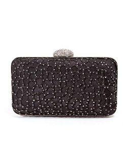 Lace Embellished evening bag with rhinestone closure, JEWEL BAG