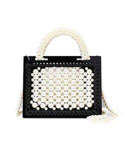 UMREN Women Clear Purse Acrylic Pearl Evening Clutch Bag Crossbody Shoulder Handbag for Wedding Party Tote Purse