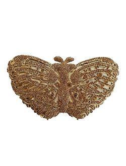 Ladies Elegant Evening-Bag Chain Crystal Wedding Clutch-Purse Party Handbag Butterfly