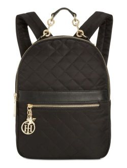 Nylon Zipper Closure Charm Quilted Backpack