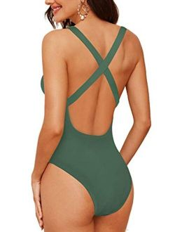 Upopby Women's One Piece Athletic Swimsuit Crisscross Sports Training Racerback Swimwear Plus Size Slimming Bathing Suit