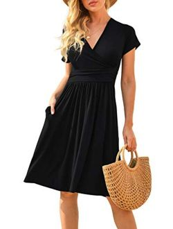 LILBETTER Women's Summer Casual Short Sleeve V-Neck Short Party Dress with Pockets