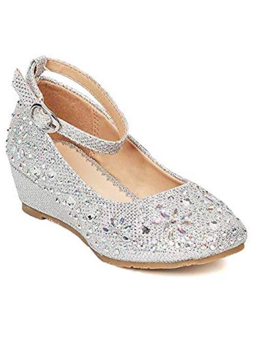 Furdeour Girls Glitter Wedge Dress Shoes Wedding Party Flower Girls Shoes Bridesmaids Rhinestone High Heels for Kid Toddler