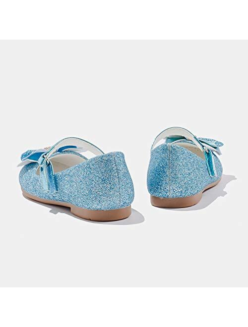 Furdeour Mary Jane Flower Party Bridesmaids Glitter Princess Ballet Flats