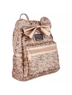 Ungefly Minnie Mouse Sequined Mini Rosegold Backpack