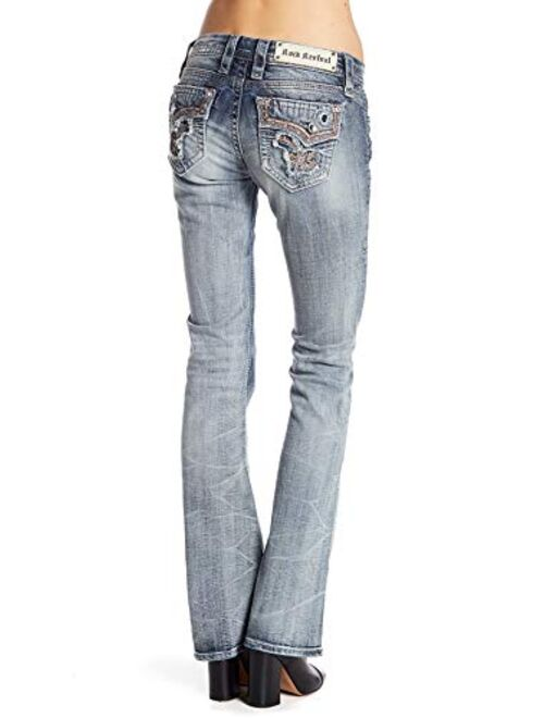 Rock Revival Betty B19 Bootcut Jeans Faded Stretch Flap Pocket