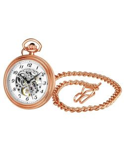 Men's Rose Gold Stainless Steel Chain Pocket Watch 48mm