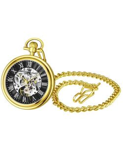Men's Gold Tone Stainless Steel Chain Pocket Watch 48mm