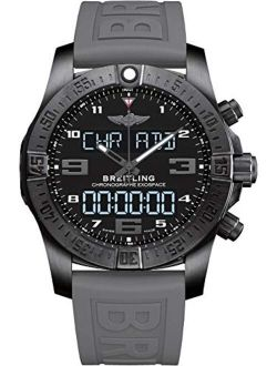 Men's Stainless Steel Quartz Watch With Rubber Strap, Black, 21 (model: Vb5510h2/be45rd)