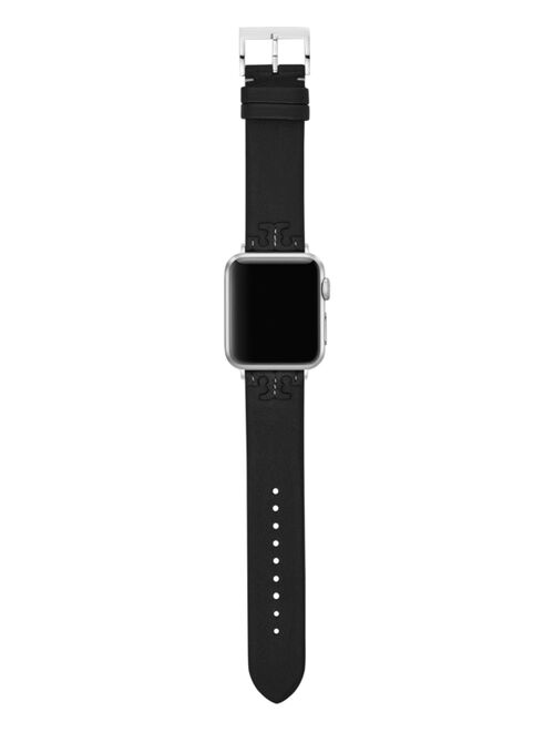 Tory Burch Women's McGraw Black Band For Apple Watch® Leather Strap 38 mm/40mm