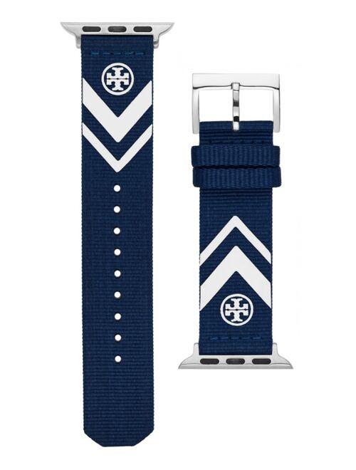 Tory Burch Women's Navy Chevron Grosgrain Band For Apple Watch, 38 mm/40mm