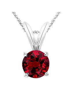 """1/2-5 Carat Round Ruby 4 Prong Pendant Necklace (AAA Quality) W/ 16"""" Silver Chain"""
