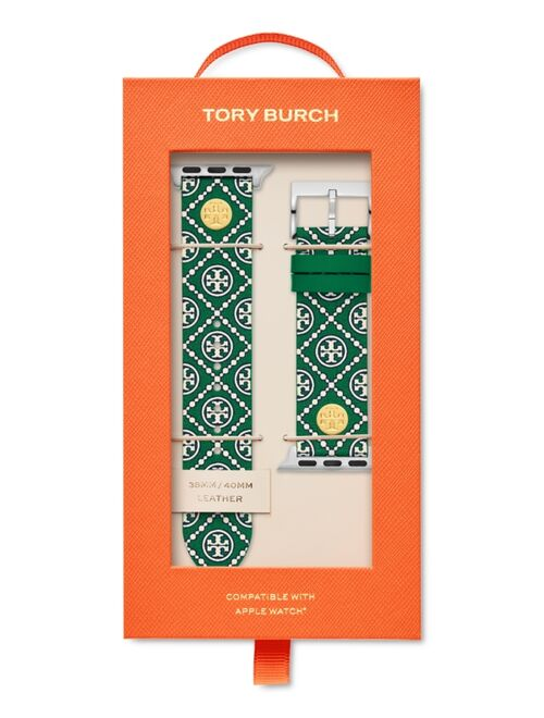 Tory Burch Women's Green Medallion Print Band For Apple Watch® Leather Strap 38mm/40mm