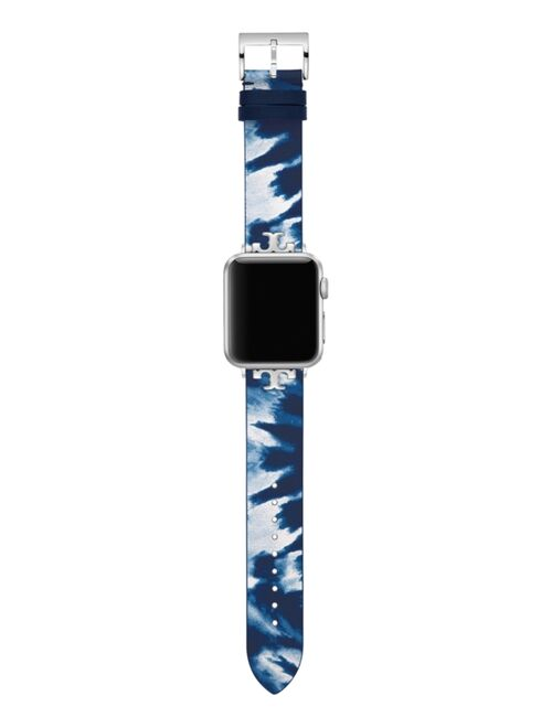 Tory Burch Women's Blue Tie Dye Print Leather Band For Apple Watch® Leather Strap 38mm/40mm