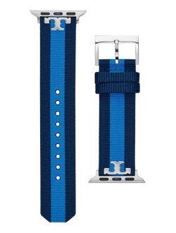 Women's Navy & Blue Stripe Grosgrain Band For Apple Watch® Leather Strap 38mm/40mm