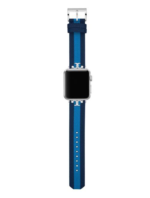 Tory Burch Women's Navy & Blue Stripe Grosgrain Band For Apple Watch® Leather Strap 38mm/40mm