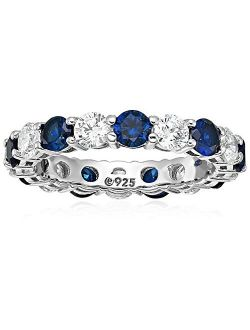 Platinum-Plated Sterling Silver Created Sapphire and Swarovski Zirconia All-Around Band Ring