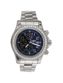 A13371 Super Avenger 48mm Xl Blue Dial Automatic Diamond Watch 3.60 Ct