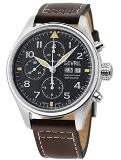 Men's Vaughn 47000 Swiss Automatic Chronograph Brown Leather Strap Watch