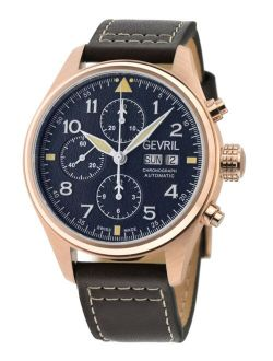Men's Vaughn Swiss Automatic Chronograph Brown Leather Strap Watch 42mm