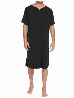 Sleepwear Men's Nightshirt Short Sleeve Pajamas Comfy Big & Tall Henley Sleep Shirt M-xxxl