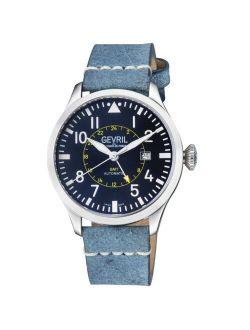 Men's Vaughn Swiss Automatic Blue Italian Leather Strap Watch 44mm
