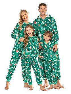 Family Matching Pajamas Set Fleece Onesie Sleepwear Christmas Parent-child Zipper Jumpsuit With Pocket