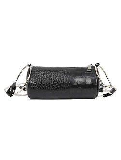 Barabum Metal Ring Cylindrical Female Crossbody Handbag