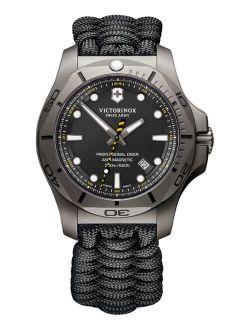 Men's Swiss I.N.O.X. Professional Diver Black Paracord Strap Watch 45mm