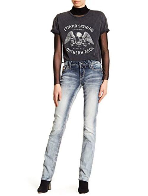 Rock Revival - Womens Nancy Embellished Easy Straight Leg Jeans Denim