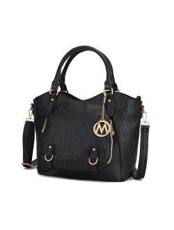 Fula Signature Satchel Bag By Mia K. - Black Embossed