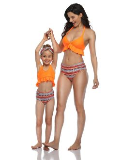 CVLIFE Family Matching Swimwear Mother Daughter Women Kids Girl Bikini Set Beachwear Bathing Suit Swimsuit Push Up Padded, Without Underwire, Ruffle, Lace Up