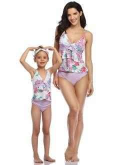 UKAP Family Matching Swimsuit Floral Swimwear Mother Daughter Women Kids Girl Two Piece Tankini Set Beachwear Bathing Suit Swimsuits Swimming Costumes Bathing Suit Push U