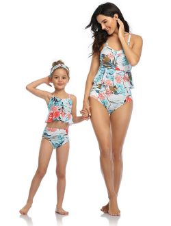 Avamo Mother Daughter Family Matching Swimsuits Tankini Sets Swimwear Beachwear Women Kids Girl Floral Two Piece Beachwear Parent-Child Bathing Suit Push-Up Bra Swimming
