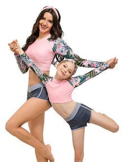 S-XXL Family Matching Swimsuits Mother Daughter Swimwear Parent-child Women Kids Girls 2pcs Tankini Set Push Up Beachwear Long Sleeve
