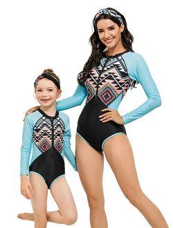 Mid-Ten Family Matching One Piece Long Sleeves Swimsuit With Headband Mother Daughter Women Baby Kids Girls Swimwear Zipper Surfing Parent-Child Beachwear Bathing Suit Bi