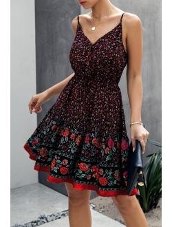 Women's Floral V Neck Spaghetti Strap Button Down Sundress Swing Ruffle Summer Mini Short Dress