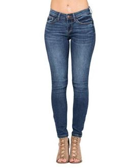 Judy Blue Mid-Rise Handsand Skinny Jeans (Style: 82106)