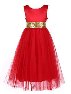 Tutu Dreams Girls Princess Dress with Sequin Waist Tie for Gown Ball Prom Party 7 Colors