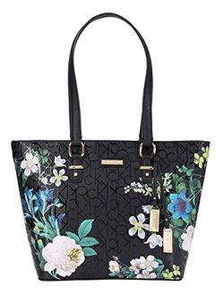 Shopper Printed Textured Embossed Tote Black Multi One Size