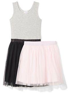 - Spotted Zebra Girls' Knit Sleeveless Tutu Tank Dress And Skirt Set