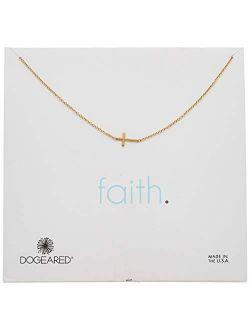 """faith 14k Gold Sideways Cross Pendant Necklace"