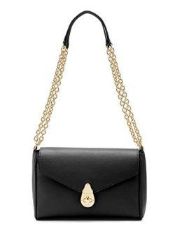 Soft Lock Lamb Leather Convertible Crossbody Shoulder Bag