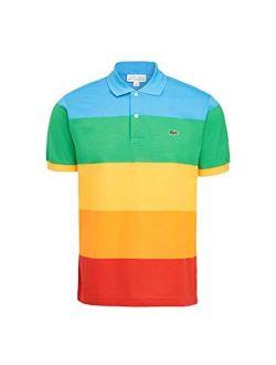 Men's Short Sleeve Polaroid Colorblock Polo Shirt