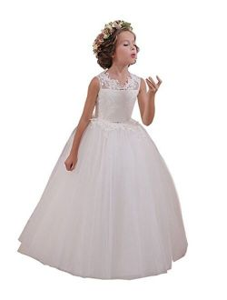 Ball Gown Lace Up Flower First Communion Girl Dresses