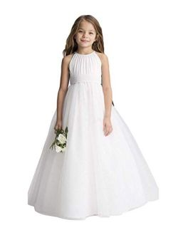 Flower Girls Tulle Chiffon Dresses Kids Wedding Party Pageant Ball Gowns