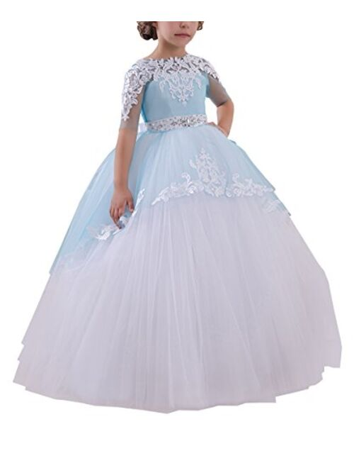 Abaowedding Flower Girls Long First Communion Dresses Kids Pageant Prom Ball Gowns